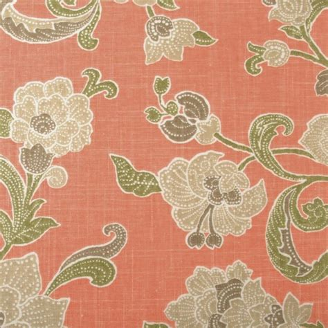 Jacobean Upholstery Fabric by Jacobean Salmon Upholstery Fabric