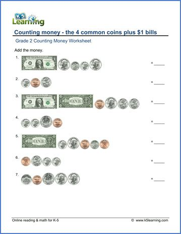 grade 2 money worksheets counting coins plus 1 bills