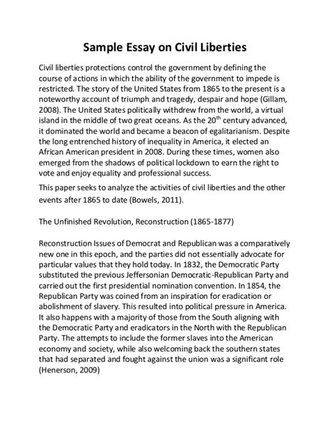 Civil Liberties Essay sle essay on civil liberties