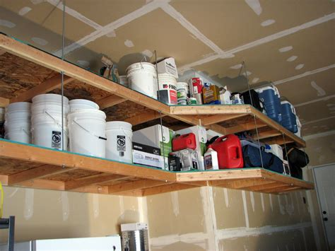 diy hanging wood shelves ceiling overhead storage ideas