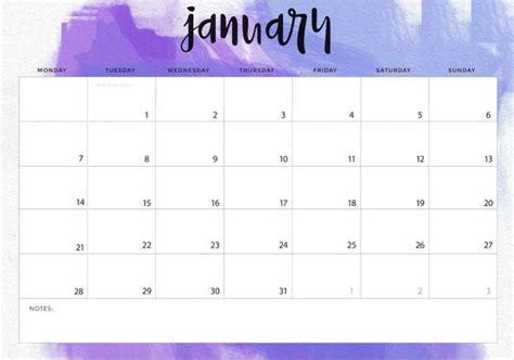 january  calendar landscape printable calendar calendar january