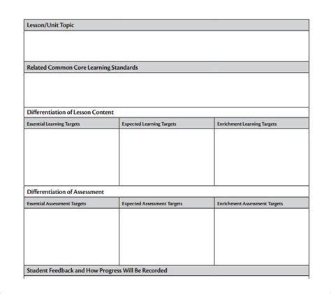 thematic lesson plan template unit lesson plan template 9 free sles exles