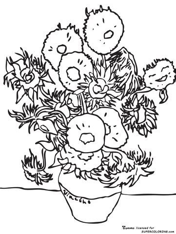coloring book vincent van 3791343319 sunflowers by vincent van gogh coloring page from famous paintings category select from 20946
