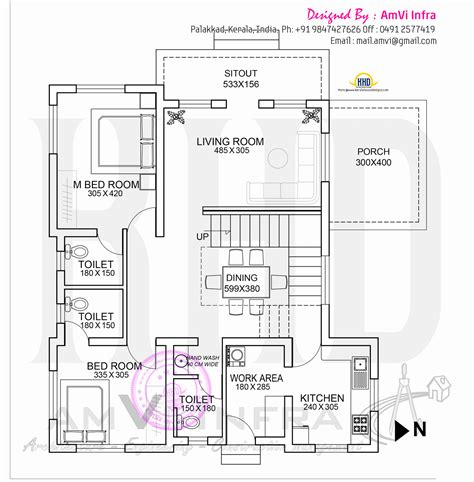 ground floor plan drawing floor plan and elevation of flat roof villa kerala home