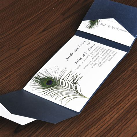 Unique Wedding Invitation Kits by Unique Peacock White And Blue Pocket Wedding Invites With