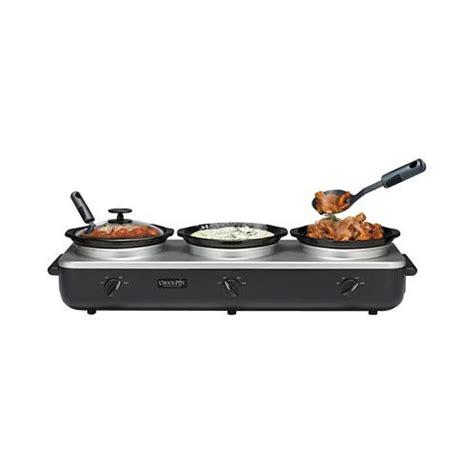 crock pot server buffet rival scrbc909 ps trio 3 qt crock pot buffet server black stainless ebay