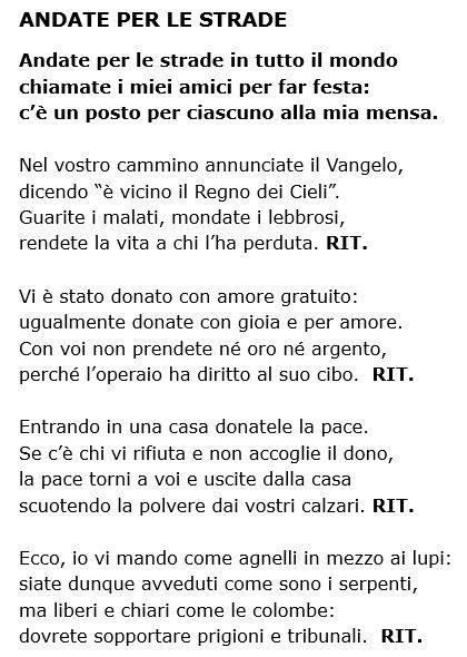 strade testo eleno testi canzoni 171 parrocchia di san lorenzo da brindisi