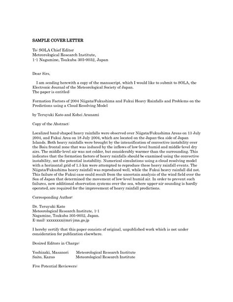cover letter to journal editor sle cover letter format to editor cover letter