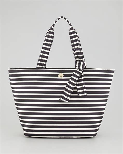 7886 Black White Tote Bag lyst kate spade new york flatiron barbara striped