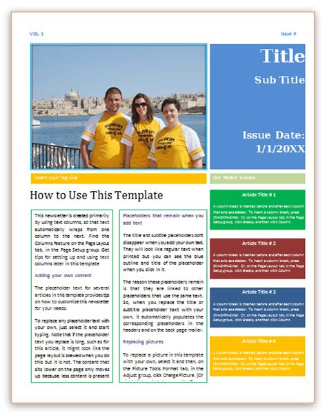 microsoft newsletter template newsletter template 4 pages word save word templates