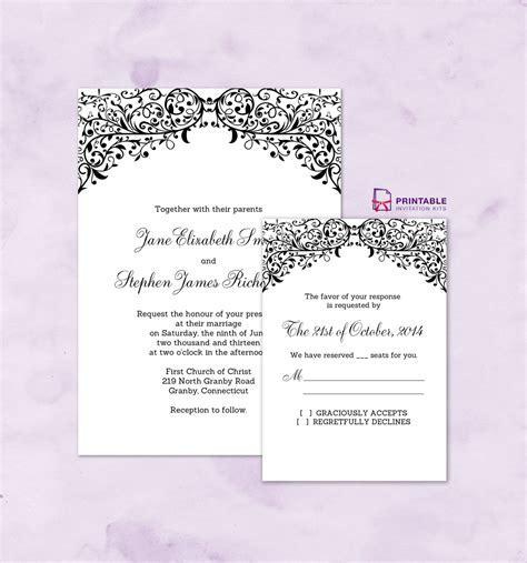 FREE PDF wedding downloads. Filigree Top Border Invitation