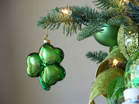 irish shamrock christmas ornament hanging on tree irish