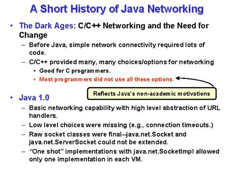 Historis Of Java a history of java networking