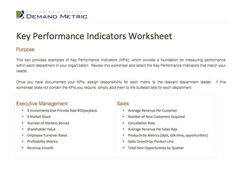 sales key performance indicators template 17 best images about performance indicators templates