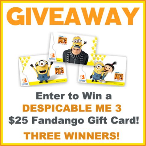 Mom And Me Gift Card - despicable me 3 is in theaters now we re giving away fandango gift cards game
