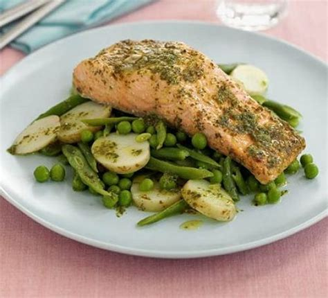 vegetables that go with salmon salmon with minty veg recipe food