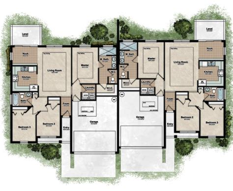 floor plans for duplex houses free home plans fourplex floor plans