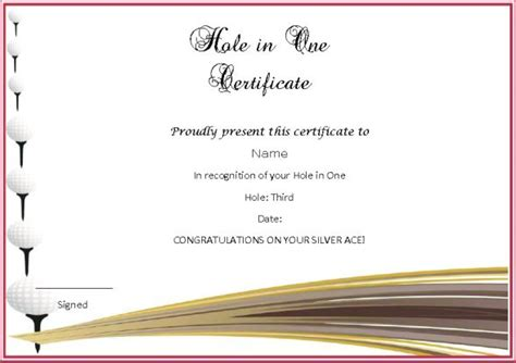 in one certificate template adorable golf certificates for professional players free
