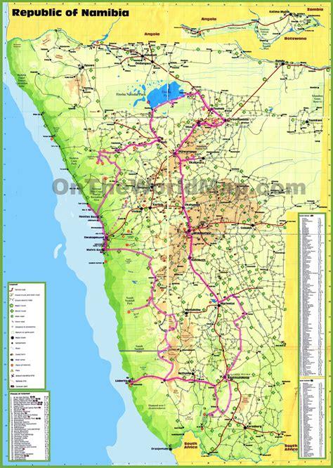 namibia map namibia tourist map