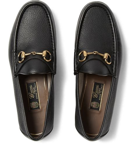gucci pebbled leather horsebit loafer gucci horsebit grain leather loafers in black for