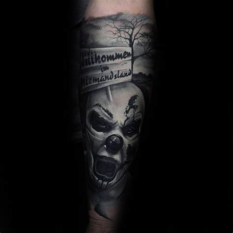 scary tattoos for men 75 clown tattoos for comic performer design ideas