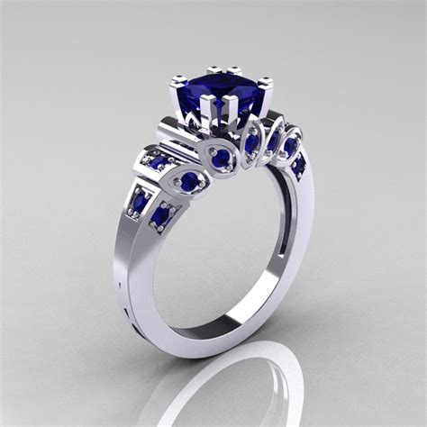 classic 10k white gold 1 23 ct princess blue