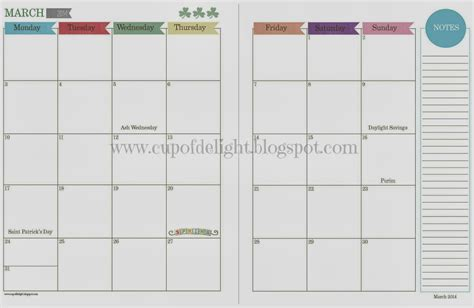 2 page monthly calendar template cup of delight 2014 monthly and daily calendars free