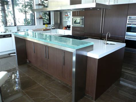 glass kitchen island contemporary kitchen with tempered glass kitchen island