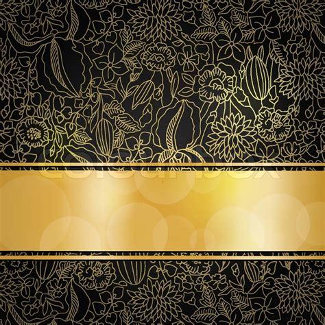 gold pattern on black background gold floral pattern on black background with golden ribbon
