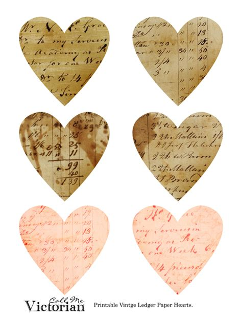 printable paper hearts free printable or for digital use really sweet vintage