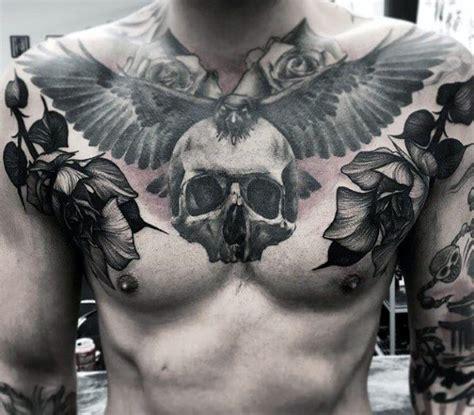 50 skull chest tattoo designs for men haunting ink ideas