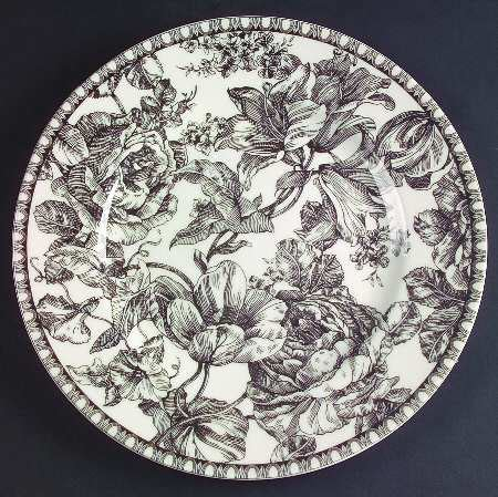 white pattern dinnerware 222 fifth pts toile black at replacements ltd
