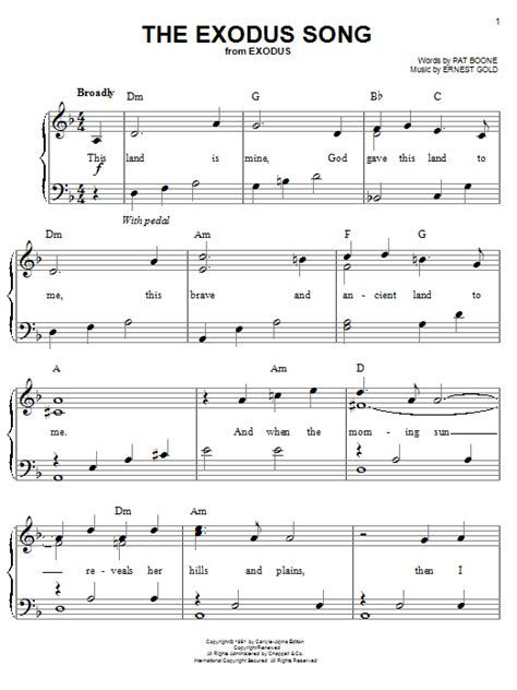 the exodus song sheet direct