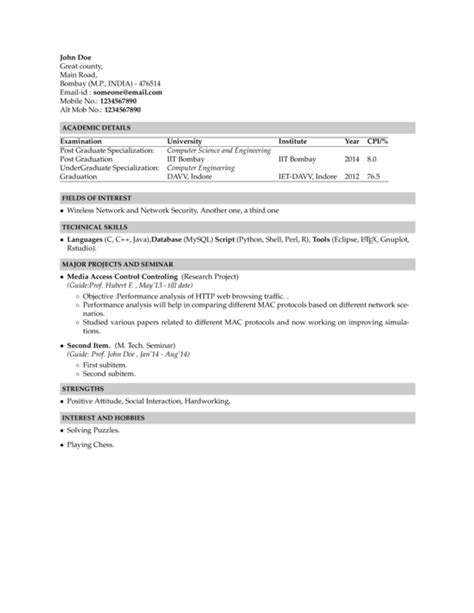 Resume Cv Xelatex Resume Template In Indian Institute Of Technology