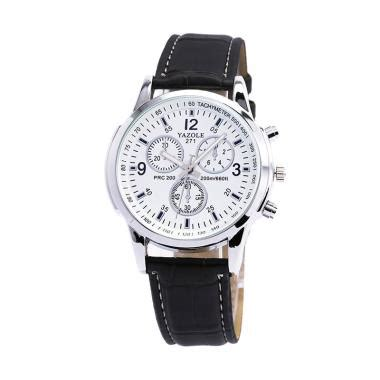 Fashion Yazole 311 Jam Tangan Pria Brown White Leather jam tangan yazole jualan jam tangan wanita