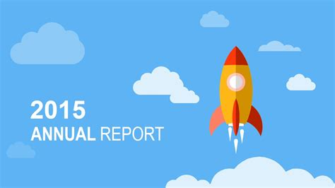 Flat Annual Report Slide Design With Rocket Shape Slidemodel Flat Design Powerpoint Template