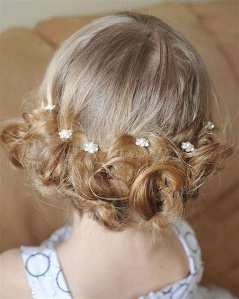 flower girl updos for weddings   low bun for flower girls   Baby's Room   Pinterest   Low buns