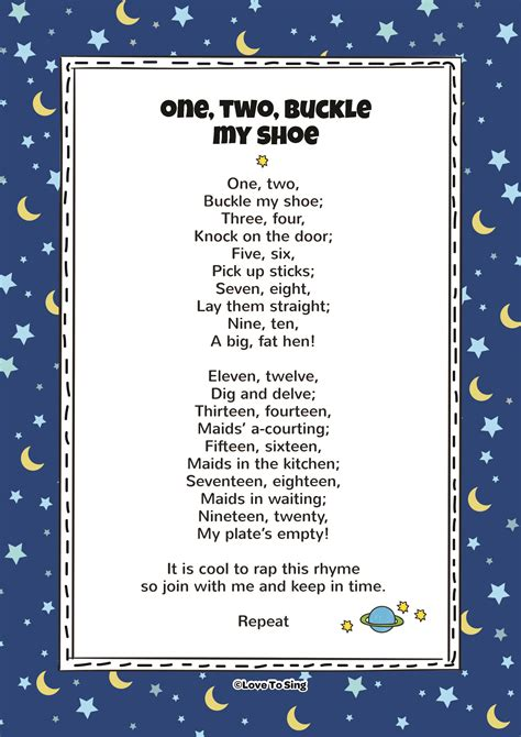 one two buckle my one two buckle my shoe kids video song with free lyrics activities