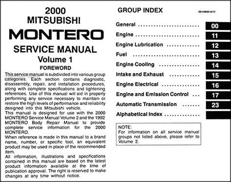 hayes auto repair manual 1999 mitsubishi montero sport electronic throttle control 2000 mitsubishi montero repair shop manual set original
