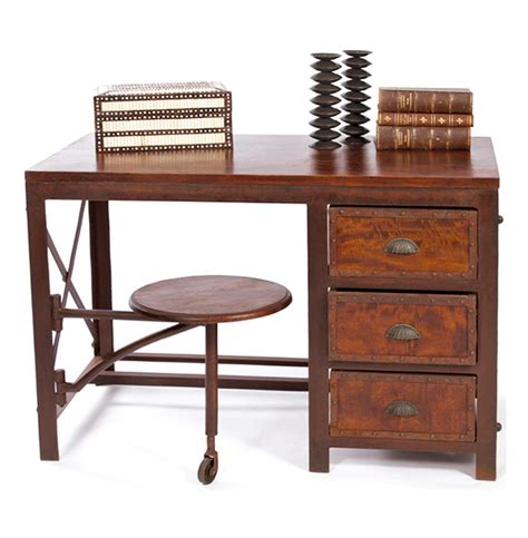 industrial rustic cargo desk with drawers attached seat