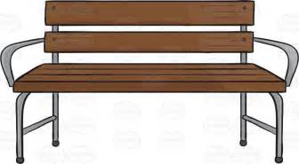 Wooden Bench With Silver Arms And Legs Cartoon Clipart