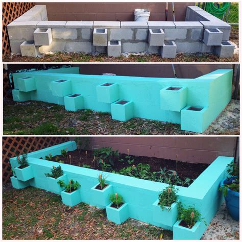 diy cinder block raised vegetable garden bed separate