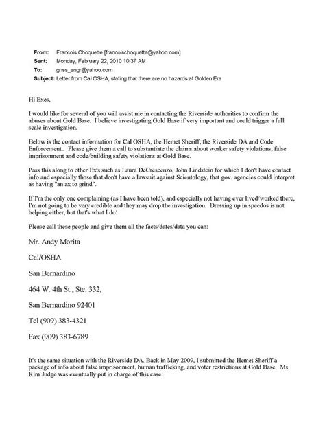 Osha Complaint Response Letter Sle Letter From Cal Osha Stating That There Are No Hazards At Golden Era From Ao Why We Protest
