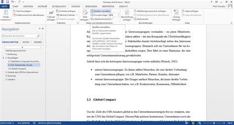 automatisches literaturverzeichnis erstellen business and science