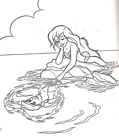 Walt Disney Coloring Pages Princess Ariel Prince Eric Princess And Prince Coloring Pages