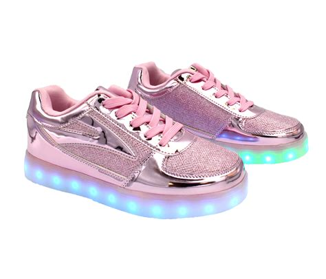light pink womens sneakers galaxy led shoes light up usb charging low top s