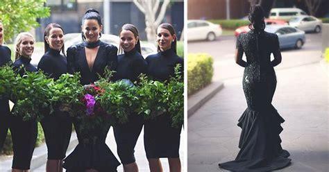 bride breaks tradition   married  black wedding
