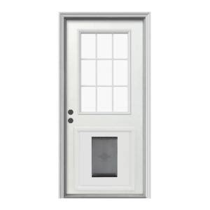 Exterior Door With Pet Door Jeld Wen 9 Lite Primed White Steel Prehung Front Door With Large Pet Door And Brickmold