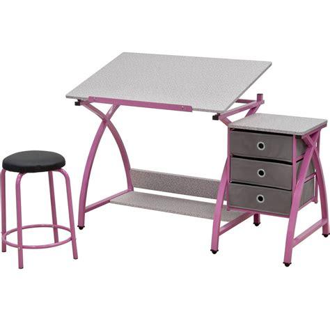 Angled Kids Desk With Stool In Kids Desks Pink Student Desk