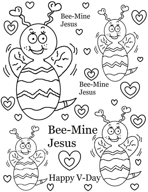 bee mine jesus coloring page valentine s day stuff